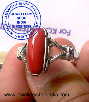 Red Coral Birthstone Ring Designs for Woman in Silver