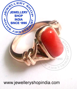 Red Coral Birthstone Ring Designs for Woman in Panch Dhatu