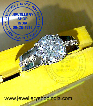 Solitaire Diamond Ring Design in White Gold for Gents