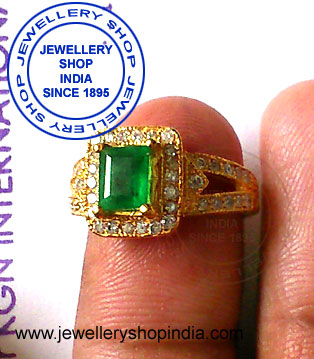 Emerald Stone with Diamonds Ring Designs for Ladies