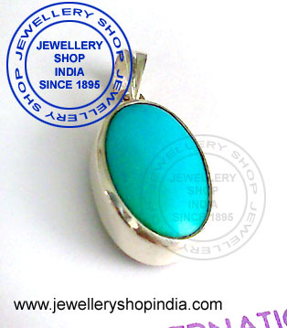 Firoza Stone Pendant  Designs for Gents in Silver