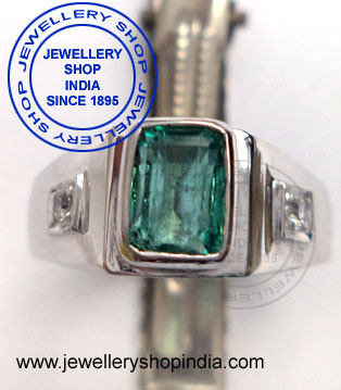 Gents Ring Designs in Emerald Gemstones