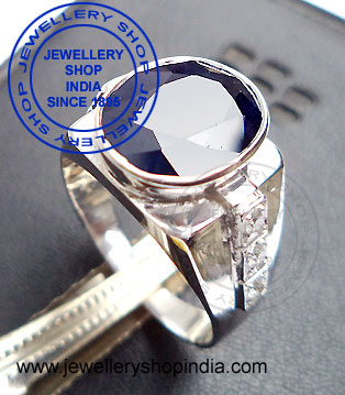 Gents Ring Designs in Neelam Gemstone Blue Sapphire Gems