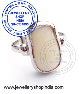 Gents Ring Designs in White Coral Gemstone