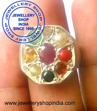 Navratan Ring Designs in Silver