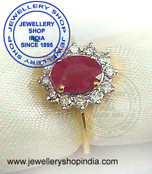 Diamond Ring Designs with Ruby Stone for Women in Gold