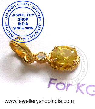 Yellow Sapphire Pukhraj Stone Pendant in Gold Designs for Women