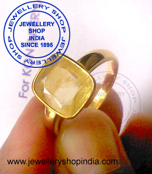 Pukhraj Stone Ring Designs in Gold Men